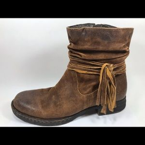 Born Brown Suede Leather Zip Ankle Boots 9.5M